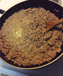ground turkey in pan